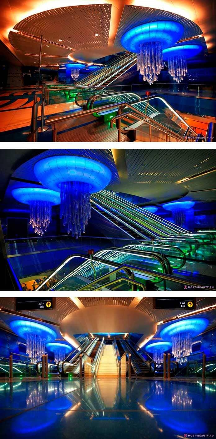 На фото: Дубайская станция метро Дубай Марина