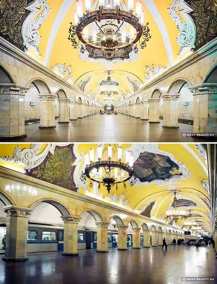 На фото: Комсомольская станция метро Москвы