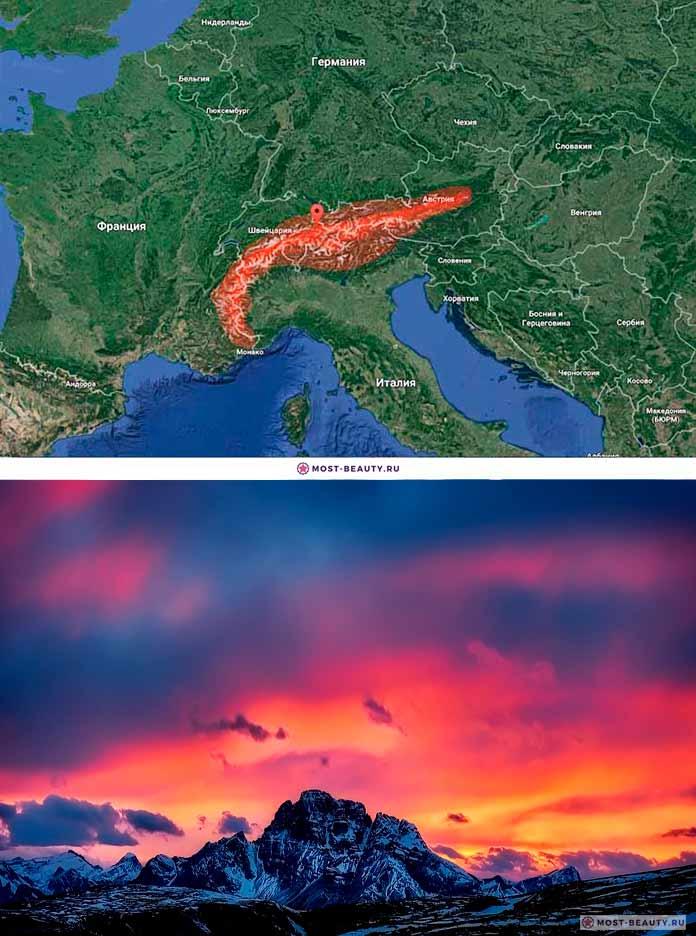 Альпийские горы на карте