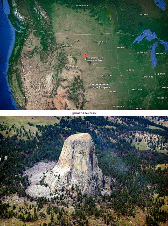 Государственный заповедник Башня дьявола на карте