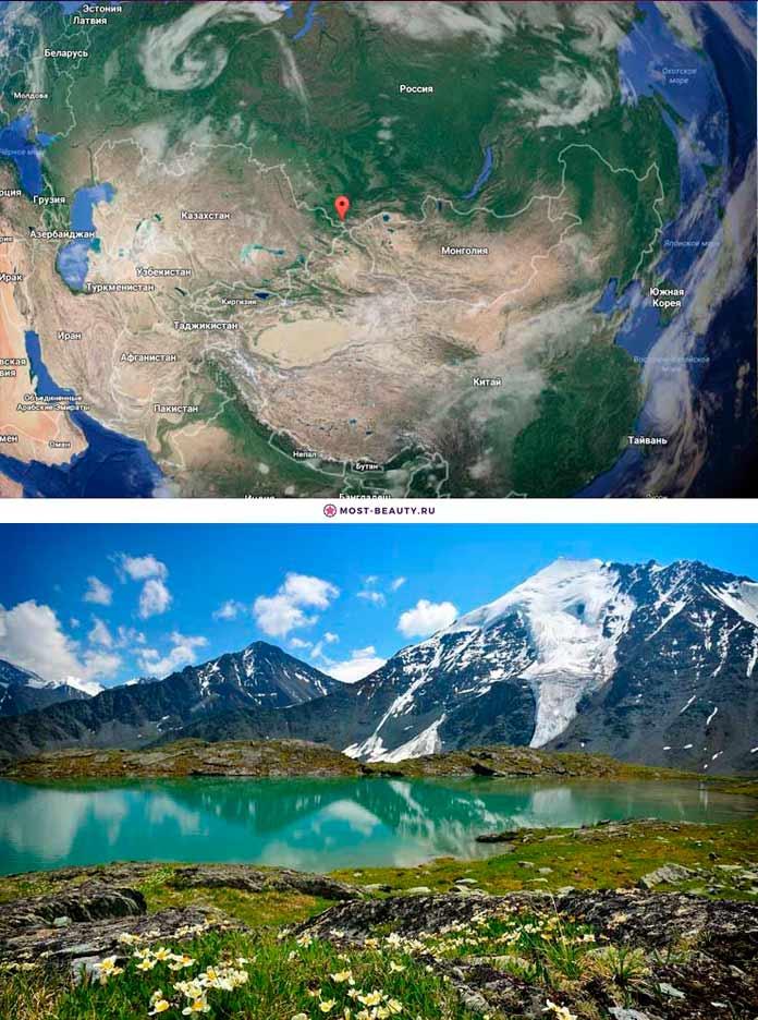 Гора Белуха и Горный Алтай на карте