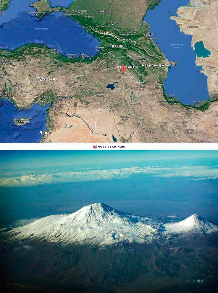гора Арарат на карте