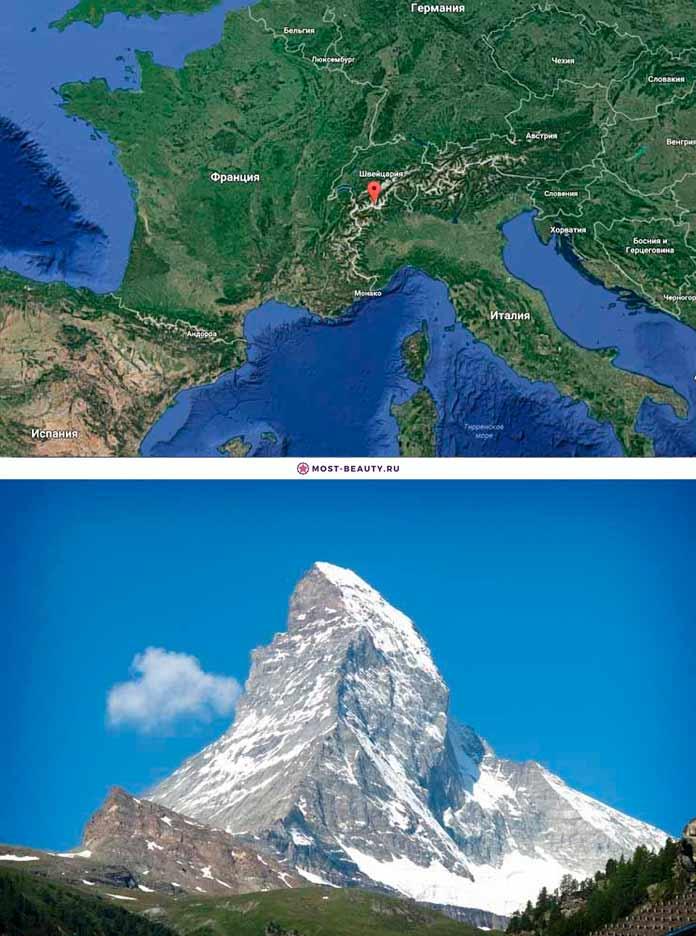 Гора Маттерхорн на карте