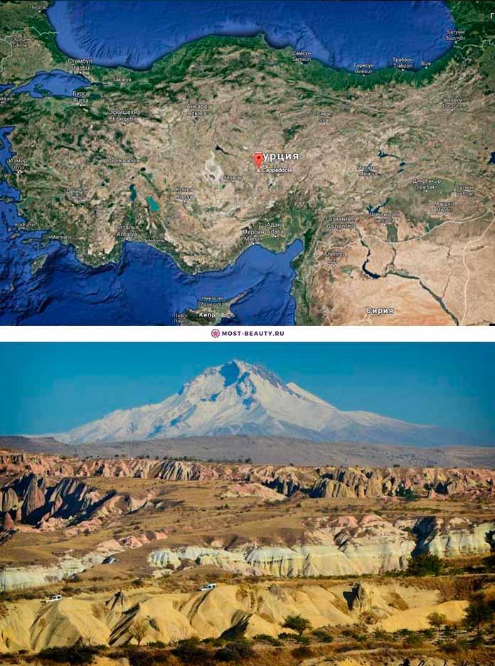Каппадокия и вулкан Эрджияс на карте