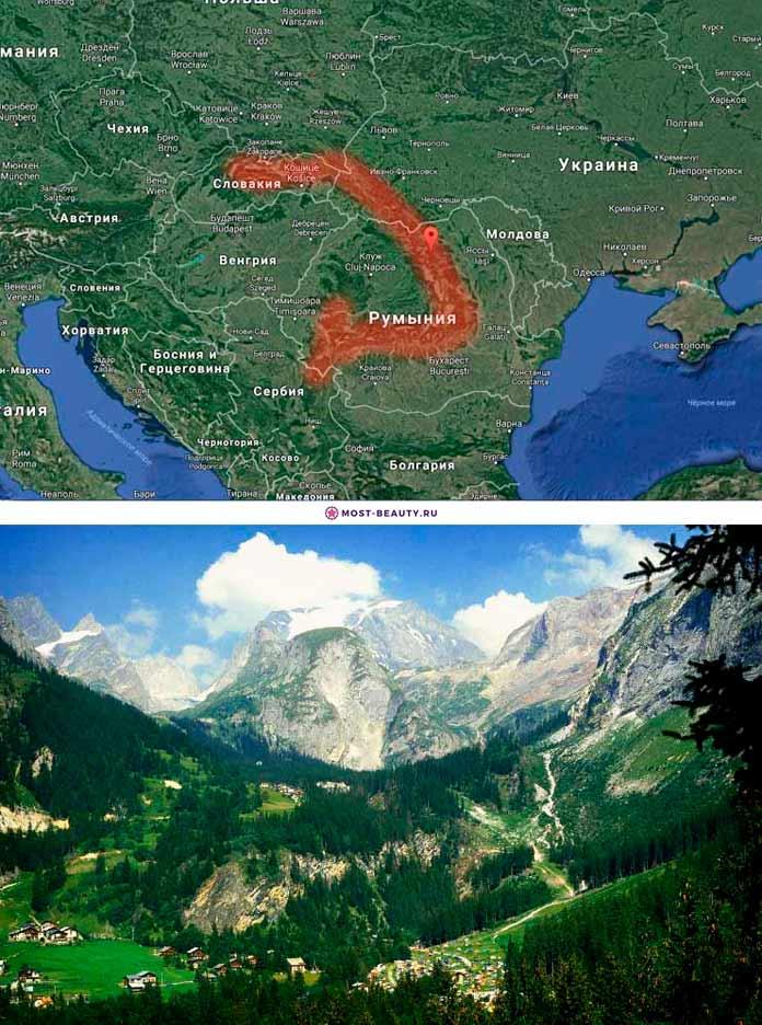 Карпатские горы на карте