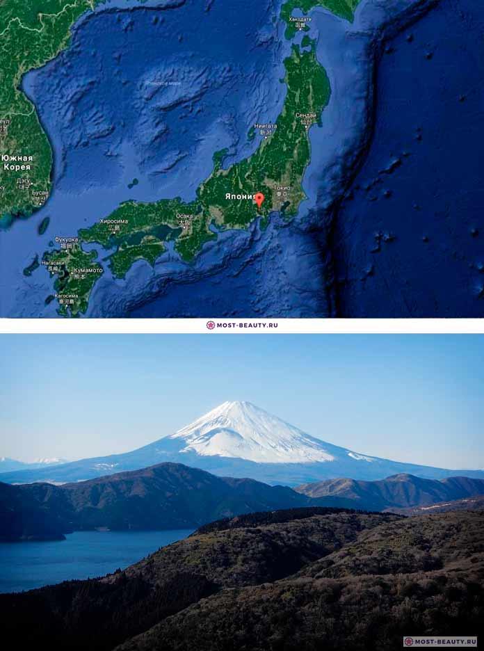 Вулкан Фудзияма на карте