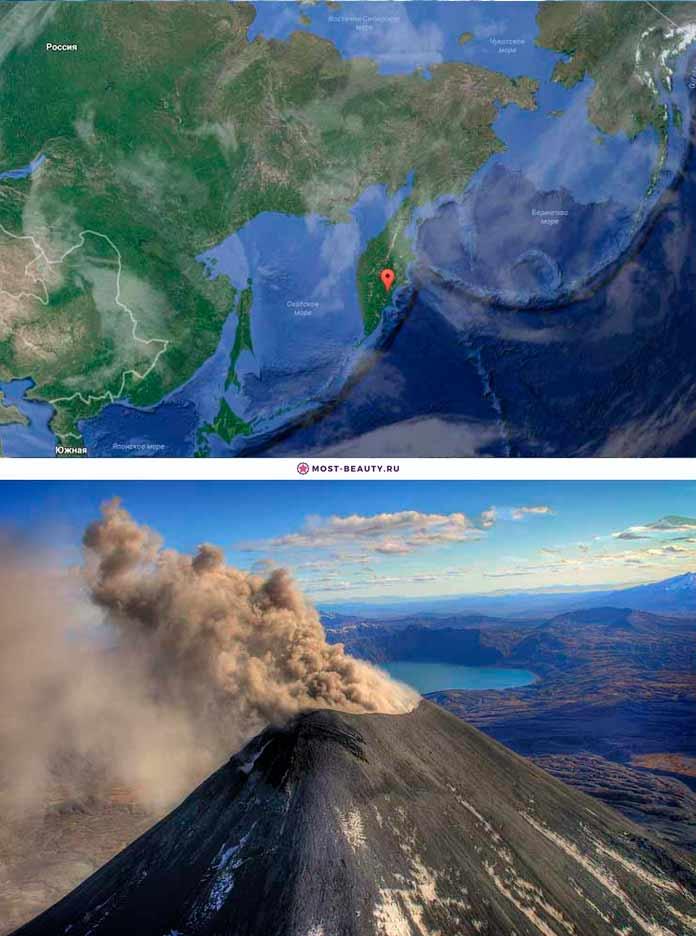 Вулкан Карымский на карте