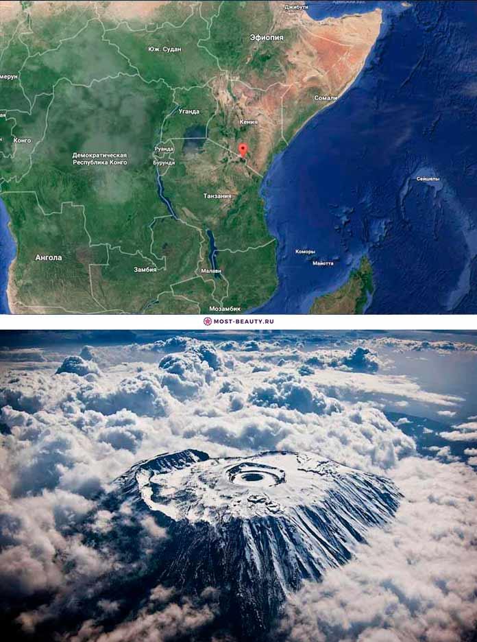 Вулкан Килиманджаро на карте