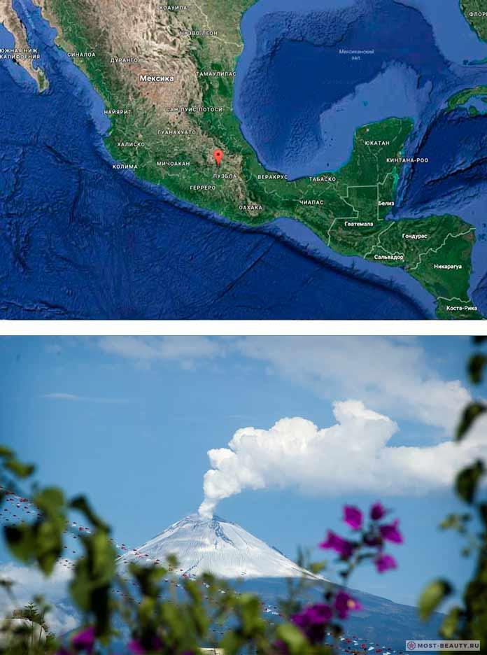 Вулкан Попокатепетль в Мексике на карте
