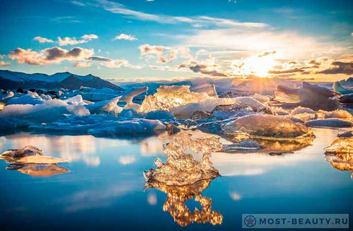 Закат над ледяной лагуной Йокюльсадлон