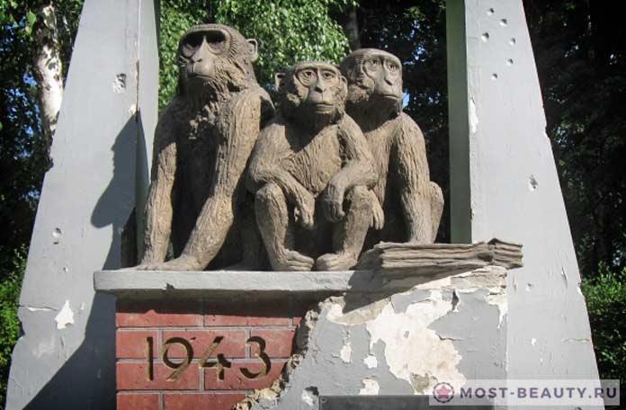 Памятник задумчивому шимпанзе