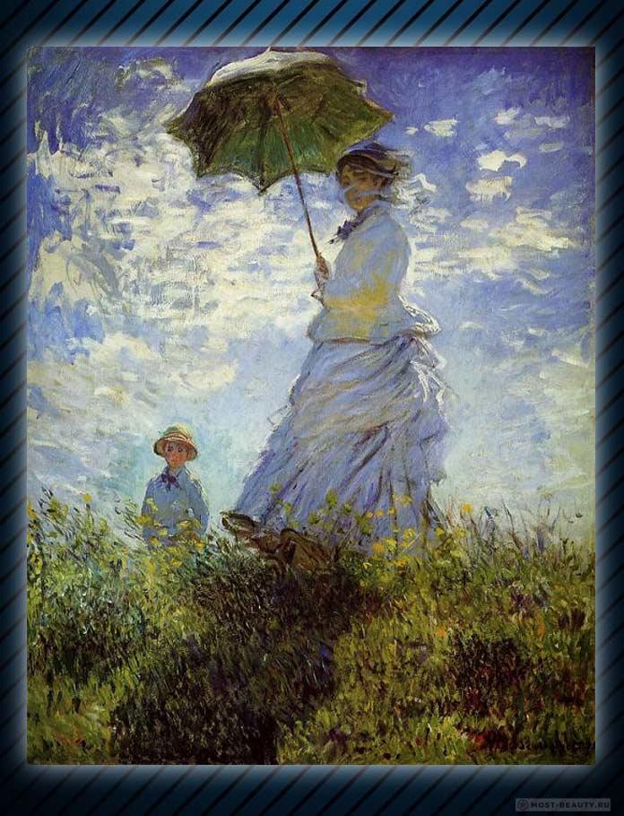 картины Моне: Дама с зонтиком