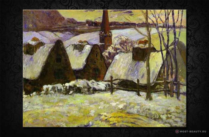 Бретонская деревня под снегом
