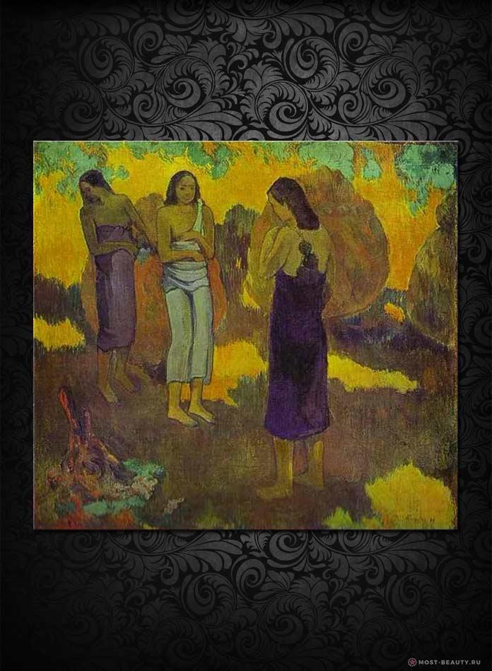 Три таитянки на желтом фоне