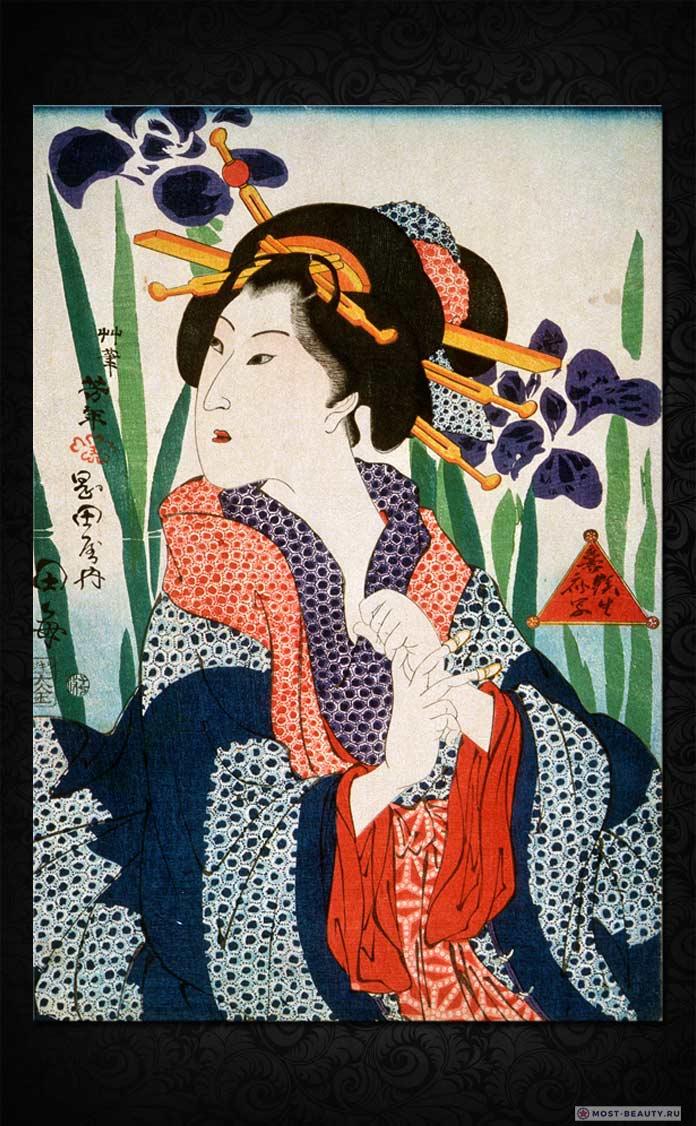 Цукиока Ёситоси - Красота с ирисами