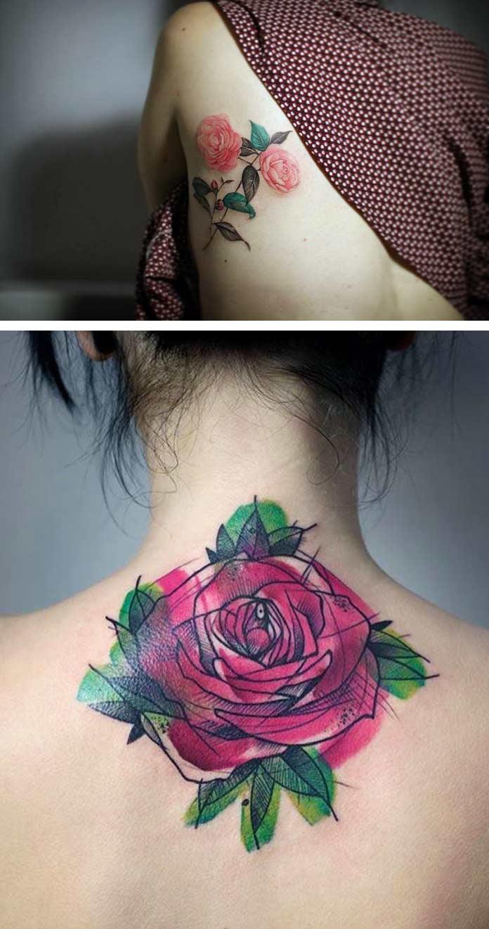 Татуировка с камелиями