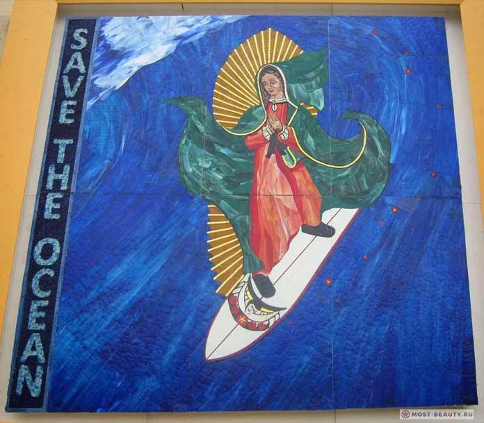 Мадонна на доске для сёрфинга (США)