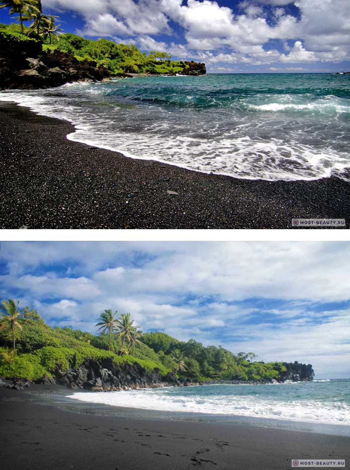 maui hawaii black sand beach
