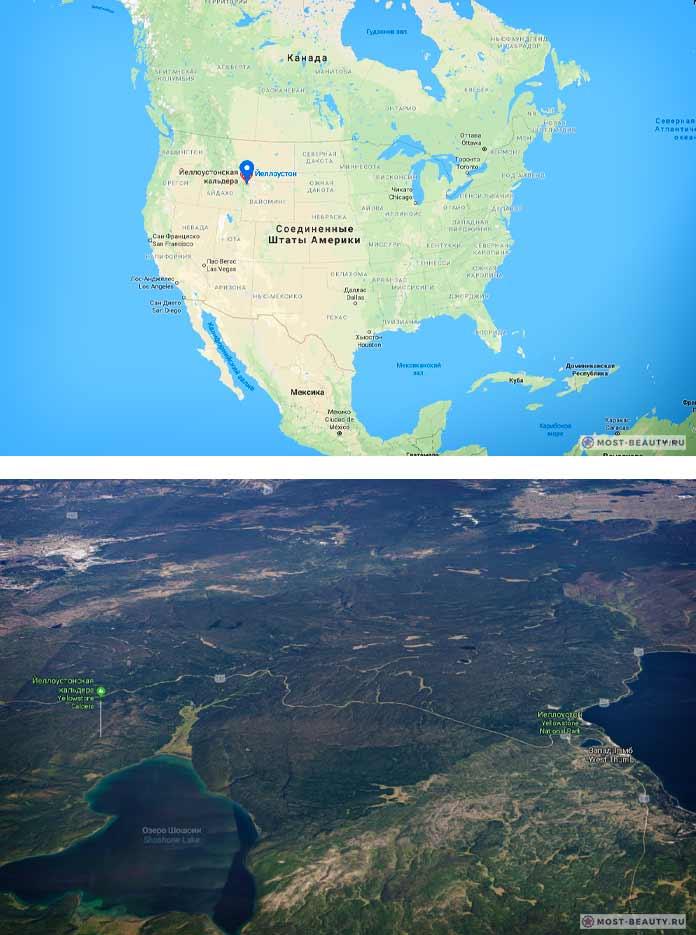 Йеллоустон на карте