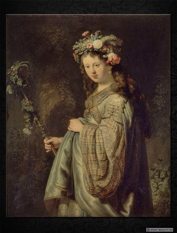 Знаменитые картины Рембрандта: Флора, портрет Саскии в виде Флоры (1634)