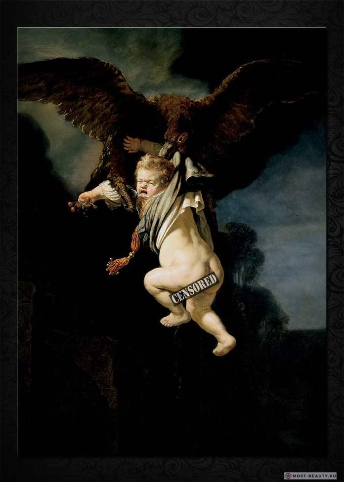 Знаменитые картины Рембрандта: Похищение Ганимеда (1665)