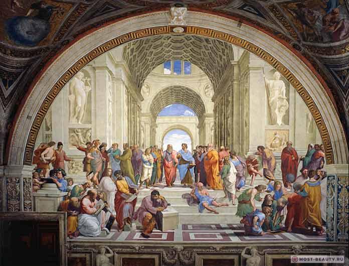 Афинская школа — одна из прекрасных фресок Рафаэля Санти