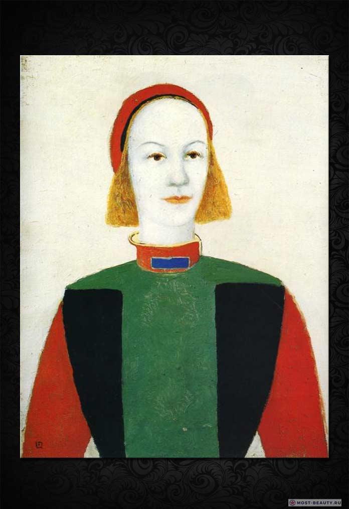 Знаменитые картины Малевича: Голова современной девушки (1932)