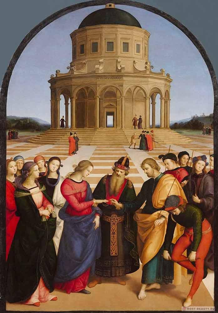 «Обручение девы Марии» (1504) — одна из известных картин Рафаэля