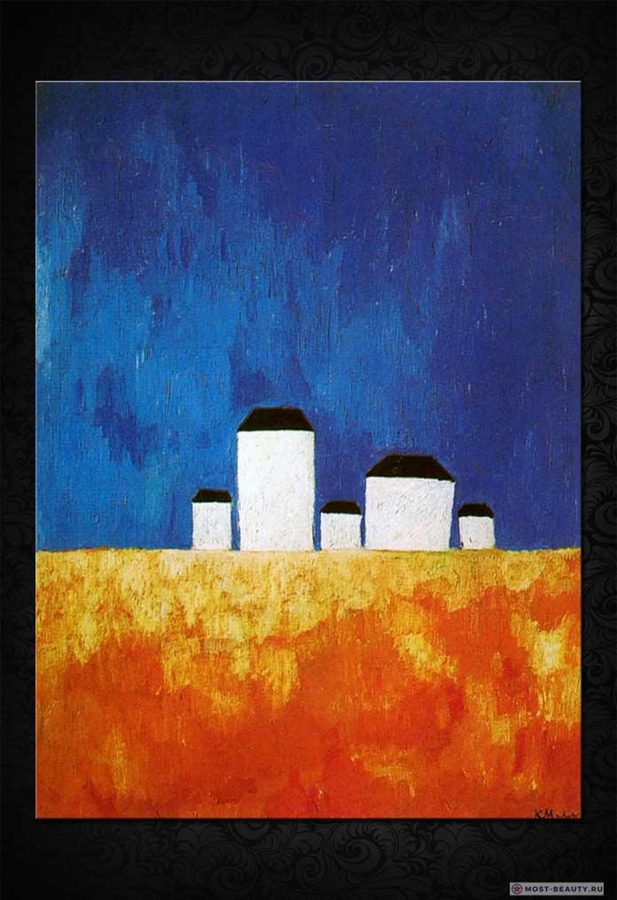 Знаменитые картины Малевича: Пейзаж с пятью домами (1932)