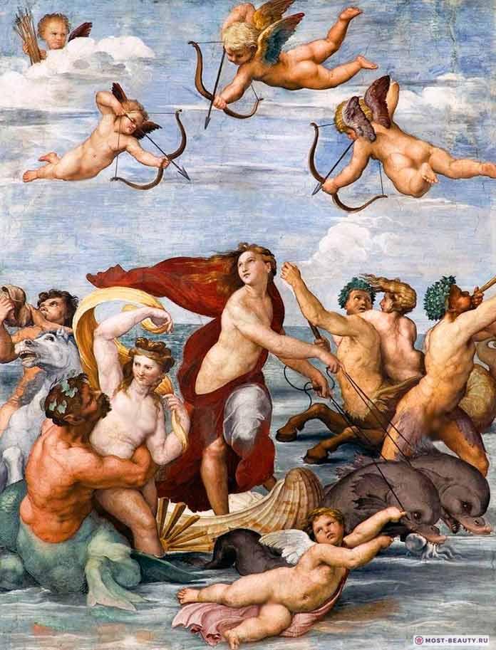 «Триумф Галатеи» (1512) — прекрасная фреска Рафаэля Санти