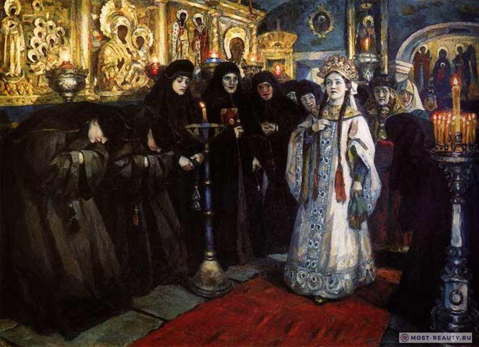 Картины Сурикова: Посещение царевной женского монастыря
