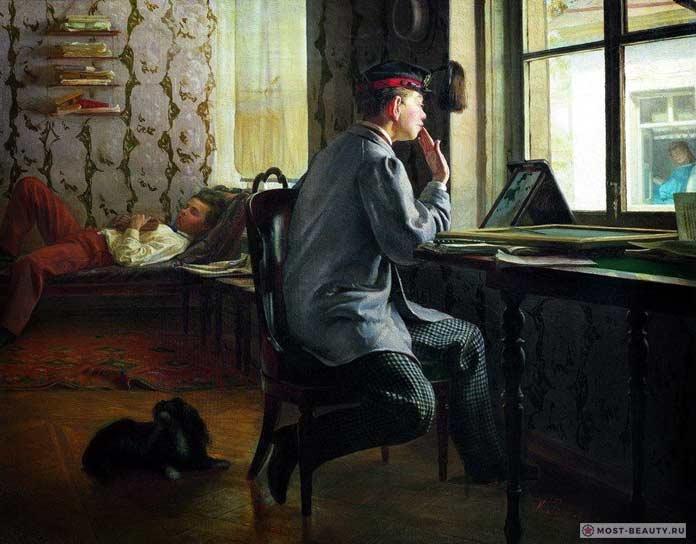 Известные картины Ильи Репина: Приготовление к экзамену