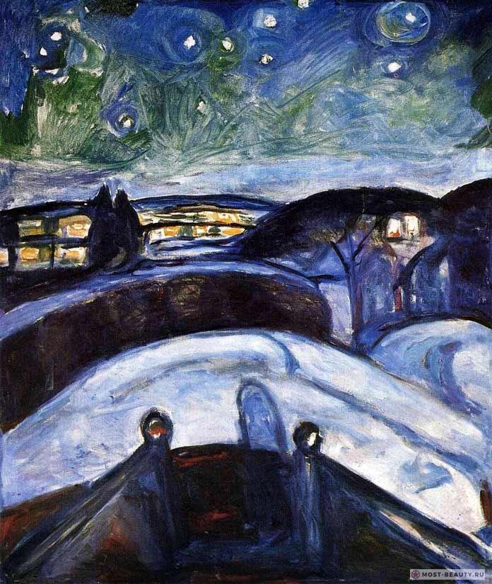 Картины Эдварда Мунка: Звёздная ночь