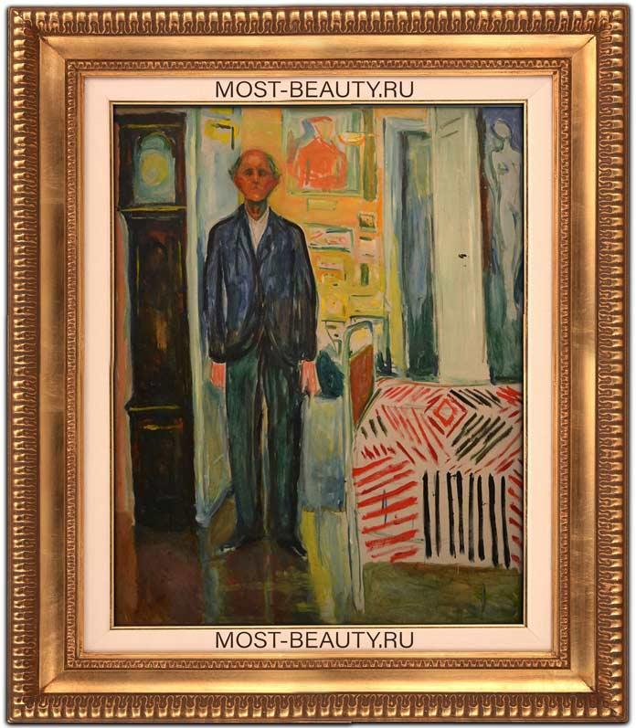 Картины Эдварда Мунка: Автопортрет. Между часами и кроватью (1943)