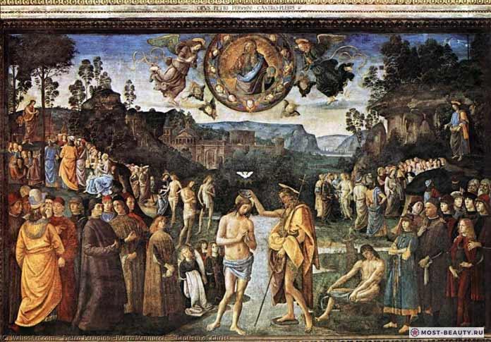 Картины Перуджино: Крещение Христа (фреска) (1481–1482)