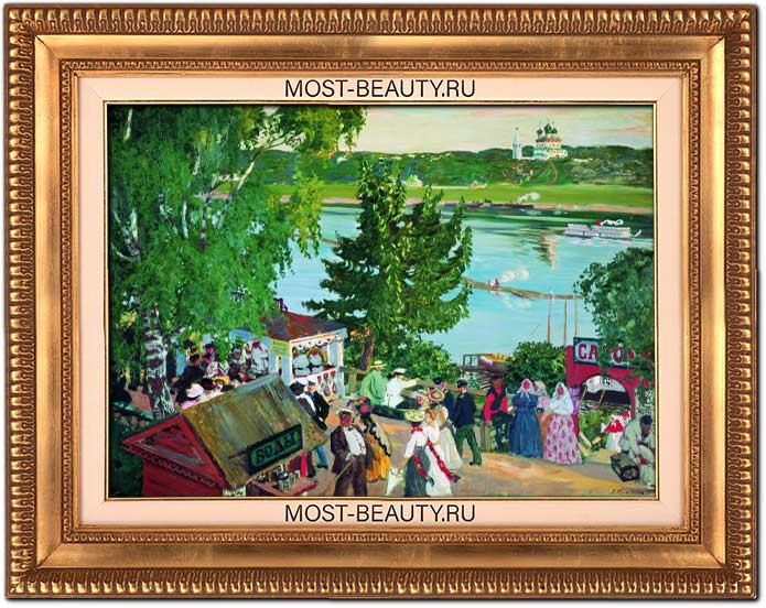 Популярные картины Кустодиева: Гулянье на Волге. 1909