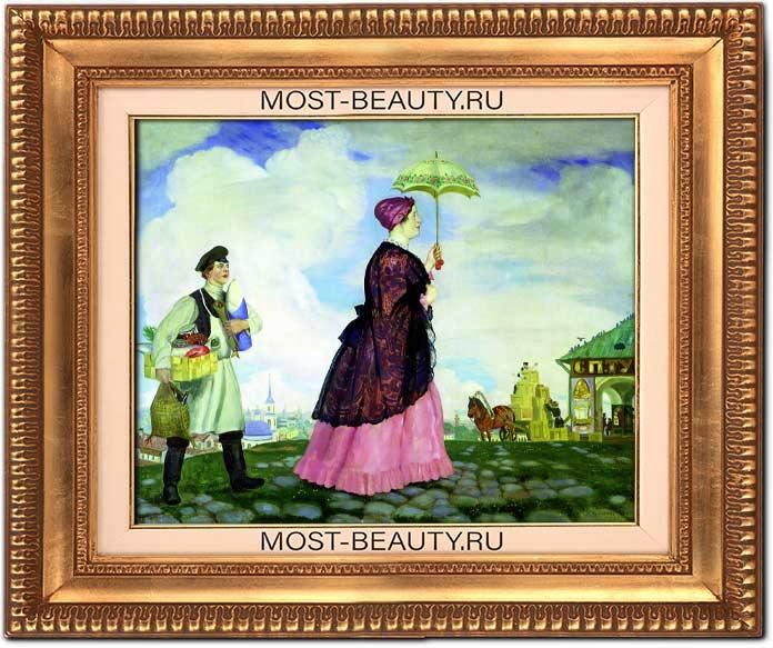 Картины Кустодиева с описанием : Купчиха с покупками (1920)