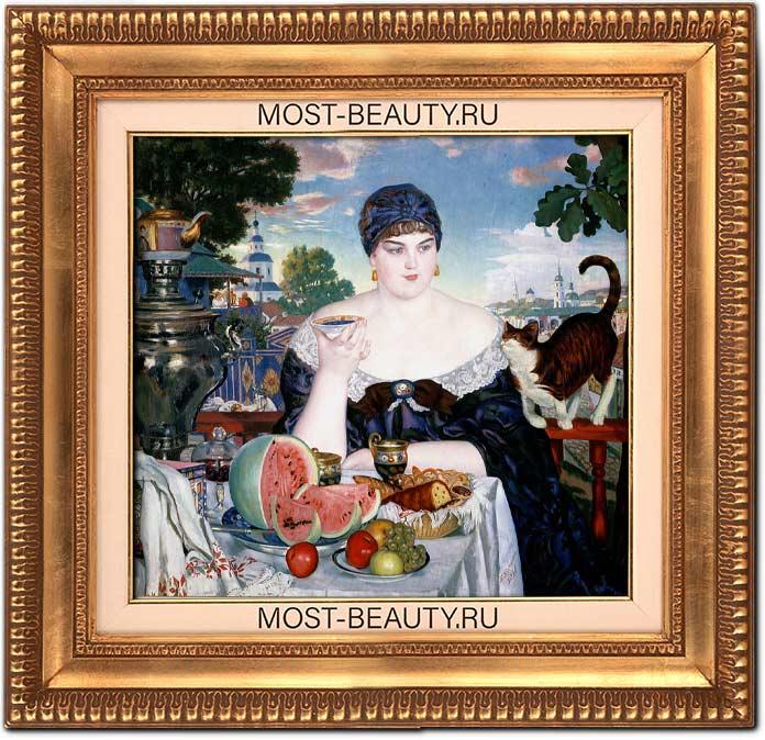 Прекрасные картины Кустодиева: Купчиха за чаем (1918)