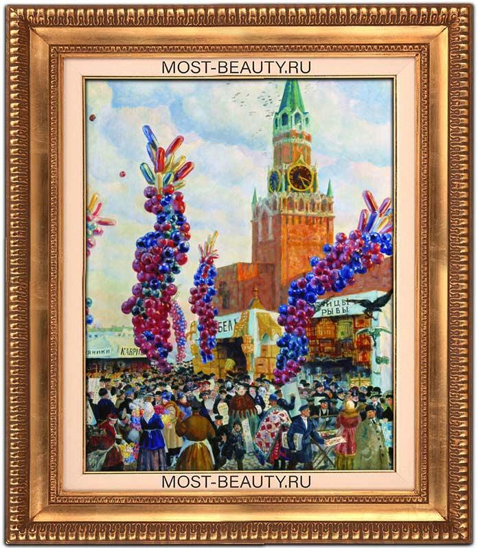 картины Кустодиева: Вербный торг у Спасских ворот