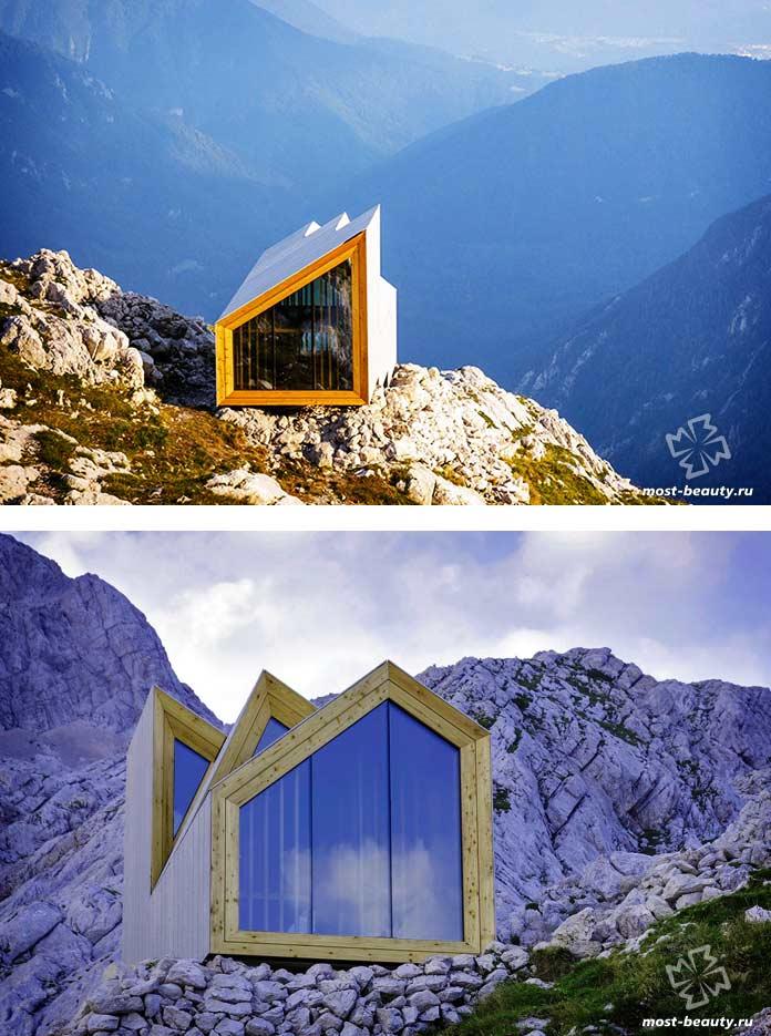Альпийский приют Скута - один из самых современных домов на скалах