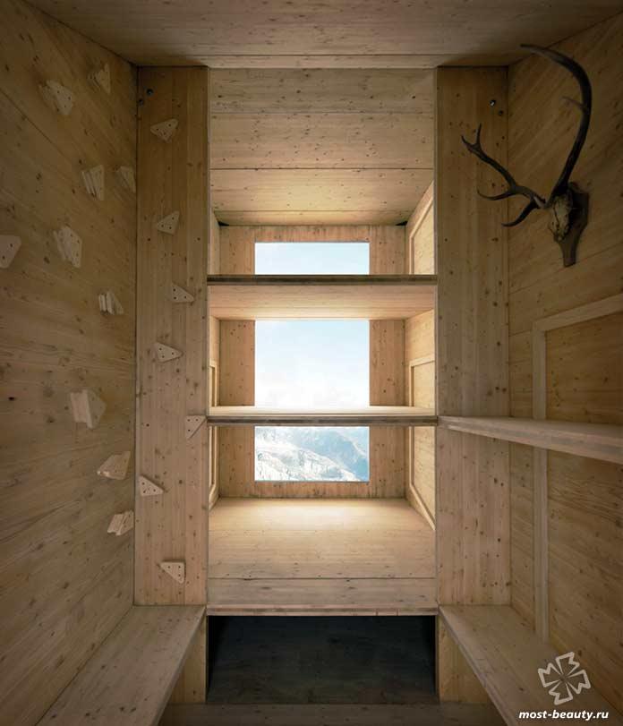 Внутренняя облицовка домика на скале