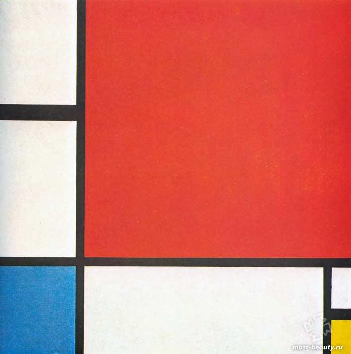 Знаменитые картины Пита Мондриана: Композиция с красным, синим и жёлтым (1929)