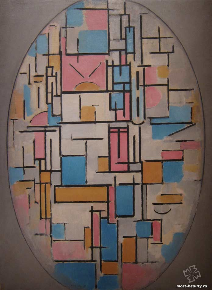 Лучшие картины Пита Мондриана: Композиция в овале с цветными плоскостями I