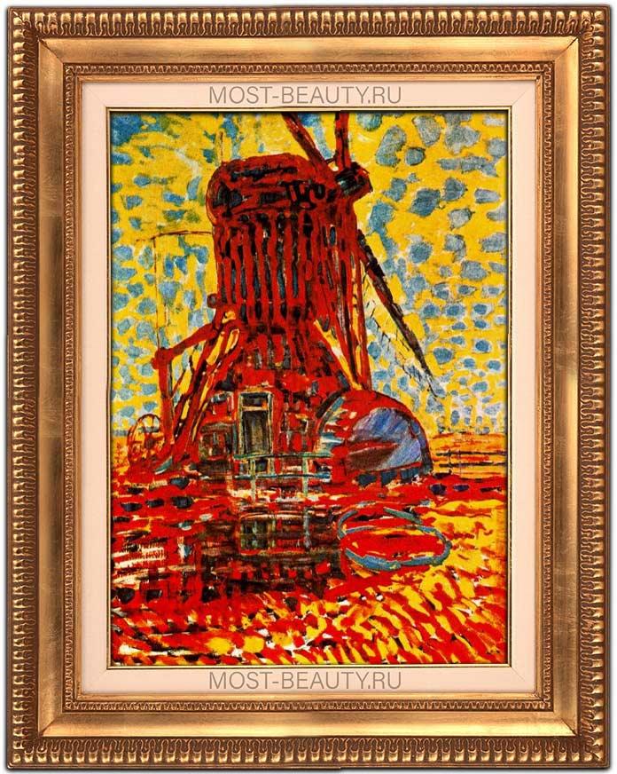 Красивые картины Пита Мондриана: Ветряная мельница в солнечном свете (1908)