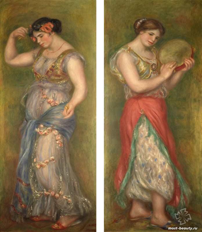 картины Ренуара: Танцовщица с тамбурином и танцовщица с кастаньетами (1909). CC0