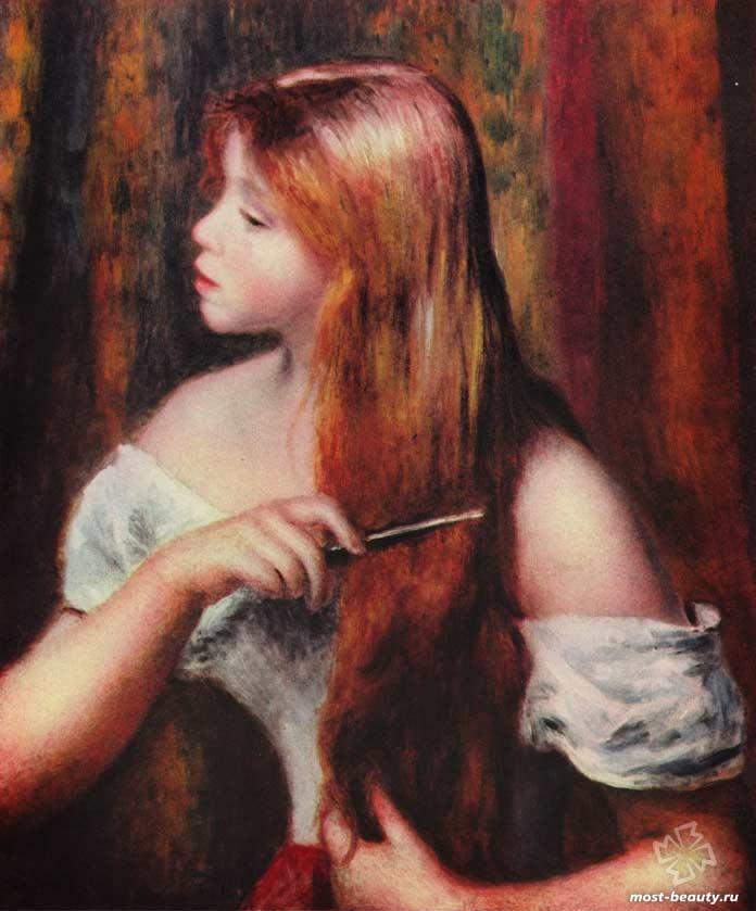 картины Ренуара: Молодая девушка с ее волосами