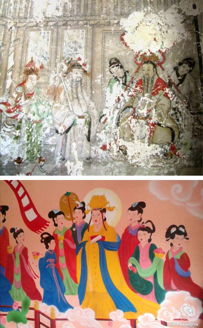 примеры неудачной реставрации: Буддийские фрески